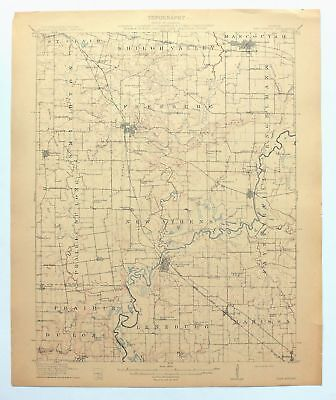 New Athens Illinois Antique 1912 USGS Topo Map Belleville 15-minute Topographic
