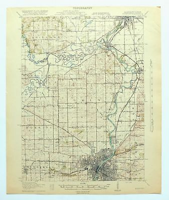 Rockford Illinois Wisconsin Antique 1918 USGS War Department Topo Map Loves Park