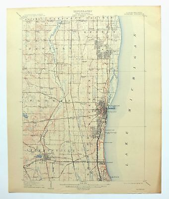 Waukegan Wisconsin Illinois Antique USGS Topo Map 1908 Lake Forest Chicago