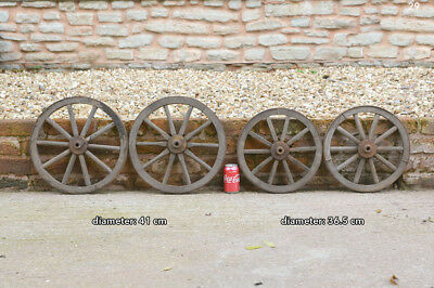 set of 4 vintage old wooden cart carriage wagon wheels wheel - 36.5 cm / 41 cm