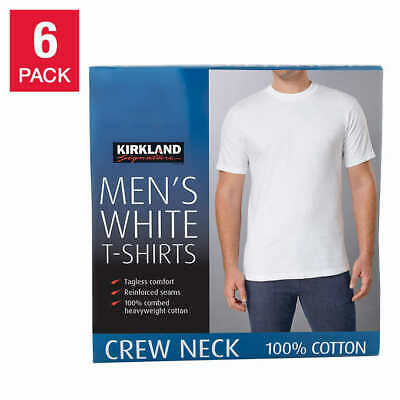 Kirkland Signature Men's Crew Neck Tees, 6 pack - WHITE (Select Size) FAST SHIP