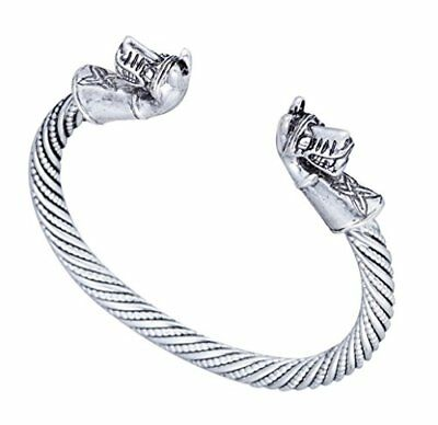 Ancient Warrior Horse Head with Celtic Knot Cuff Animal Bracelet Jewelry for