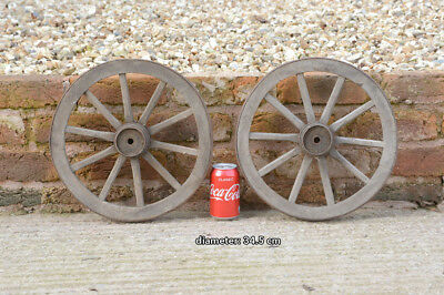 2x vintage old wooden cart wagon wheels wheel - 34.5 cm - FREE DELIVERY