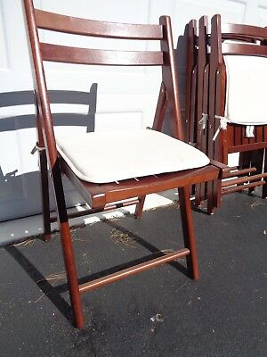 Set of 4 wood folding chairs with pads and covers (C-45)