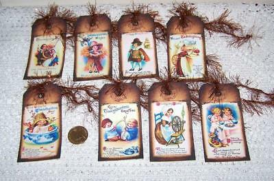 Thanksgiving~Vintage~Fall~Autumn~Kids~Linen Cardstock~Gift~Hang~Tags