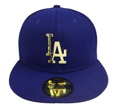 finest selection 27636 11dcc Los Angeles Dodgers Fitted New Era 59Fifty Goldent Front Hat Cap Blue