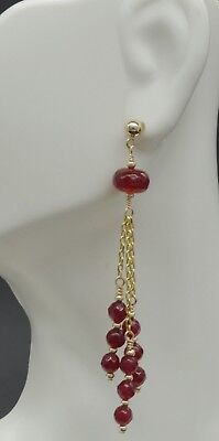New 14K Solid Gold Natural Ruby 4mm gold Bead bar Drop Earrings