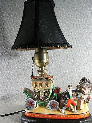 Lamp Satsuma Moriage Antique Porcelain Japanese Carriage &Horses Rewired Working