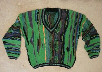 Tundra Canada Vintage Cosby Textured Multi Color Sweater Mens Medium