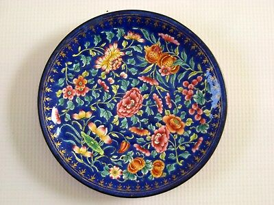 Rare & Fine 19th Century Chinese Hand Painted Canton Enamel on Copper Dish