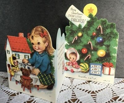 Marjorie Cooper VTG Xmas Greeting Card Daughter Doll House Cat Tea Cup Party