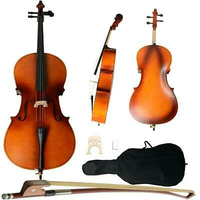 Professional Cello 4/4 Full Size Natural BassWood Set with Bag+Bow+Rosin+Bridge