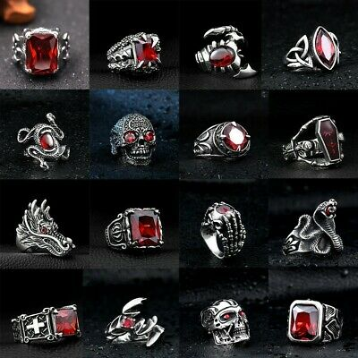 Skull Punk Cool Man Jewelry 316L Stainless Steel Steam Ram Men Ring Gothic Rings