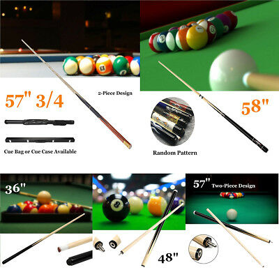 1/2 3/4 36''-57'' 2Piece Wood Jointed Pool Cue Stick Snooker Billiard Sport Game