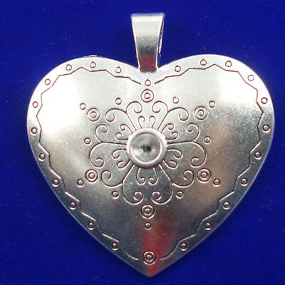 Carved Tibetan Silver Flower Heart Pendant Bead 73x69x11mm H18102402