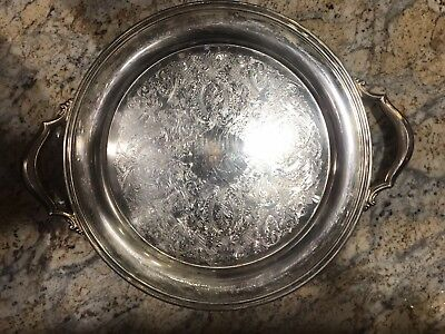 "Vintage Oneida USA 15"" Round Ornate Silver-Plated Serving Tray with Handles"