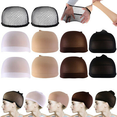 2PCS Elastic Wig Caps Nylon Neutral Nude Beige Black Mesh Black/Brown/Skin Color