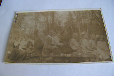 Rare Vintage RPPC Real Photo Postcard C1 Antique Family In A Line On Log Kids