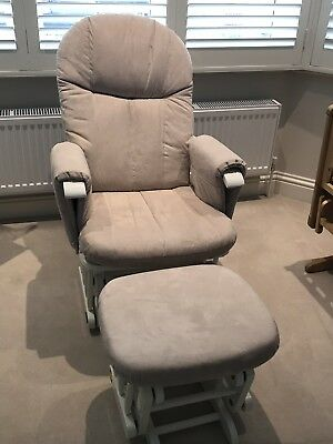 Tutti Bambini Recliner Glider Chair & Stool-White Nursing Feeding Rocking Chair