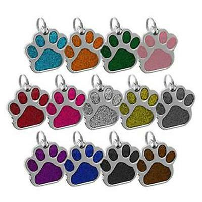 Zinc Alloy Glitter Dog Paw Pet Cat Personalised Identity ID Name Tags