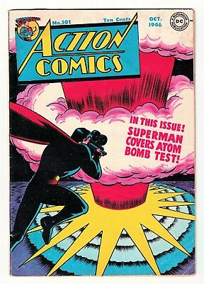 ACTION COMICS 101 Nuclear Bomb Superman Golden age FN 6.0 1946 classic cover