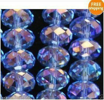 70pcs 6*8mm Light blue AB Crystal Faceted Roundel Gems Loose Beads