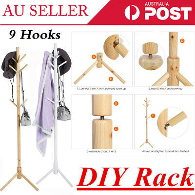 Wooden 9 Hook Coat Hanger Stand 3-Tier Hat Clothes Rack Home Tree Style Storage