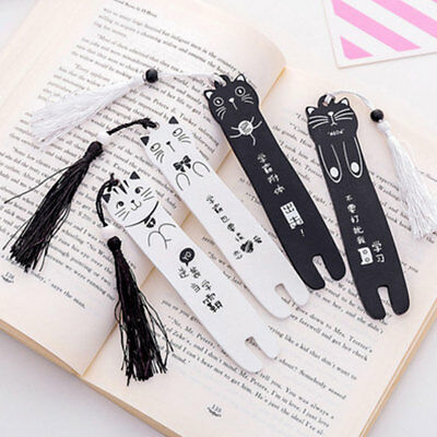 School Lovely Cartoon Cat Wooden Bookmark Book Page Tassel Student Stationery