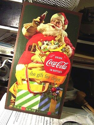 "Coca Cola - Santa Claus - Christmas Wooden Plaque - 8½ "" by 16 "" - Drink Coca Co"