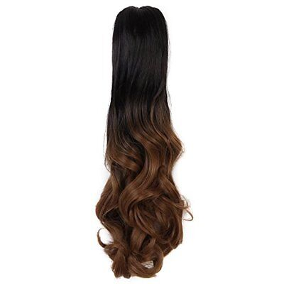 "20""50cm Ombre Two Tone Long Big Wavy Claw Curly Ponytail Clip"