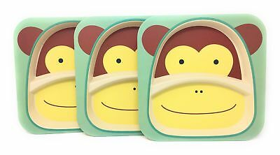 3 Pack Monkey Kids Plates: Bamboo Plates -  Divided & Stackable - BPA Free