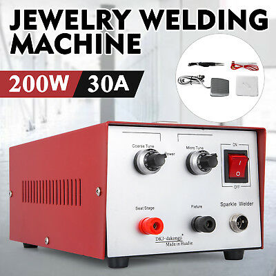 30A 200W Pulse Sparkle Spot Welder Jewelry Welding Machine Necklace Gold 110V