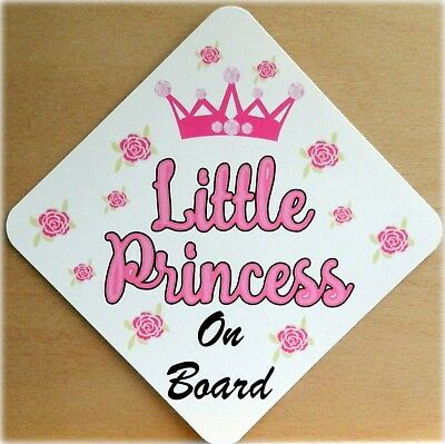 Personalised Baby On Board Car Sign ~ Mummys Princess new Baby Pink