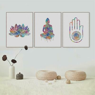 Buddha Lotus Unframed Canvas Painting Wall Hanging Pictures Home Decor 3 Size UK
