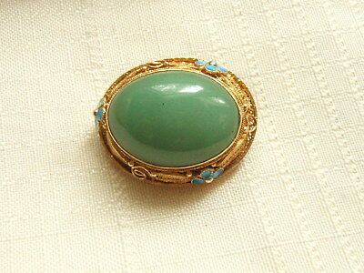 Antique Chinese Sterling Silver Pin Export Enameled Gold Washed