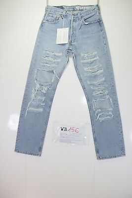 Levis 501 Denim Customized (cod. WB156) jeans tg.42 W28 DONNA Strappato Remake