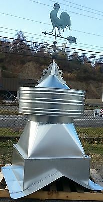 large galvanized barn cupola,with copper rooster wind vane WE CAN MAKE ANY PITCH