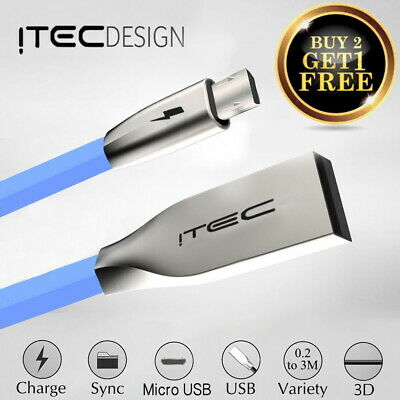 Long iTec Micro USB Cable, 1M 2M 3M High Speed Data Sync Fast Charger Flat Lead