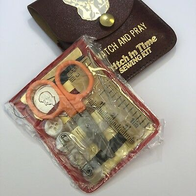 Vintage unused complete sewing kit Wallet  - Watch and Pray, Stitch in Time Kit