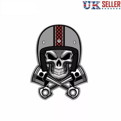 Cafe Racer Skull Pistons Vinyl Sticker Crossbones Car Motorbike Helmet Cycle -UK