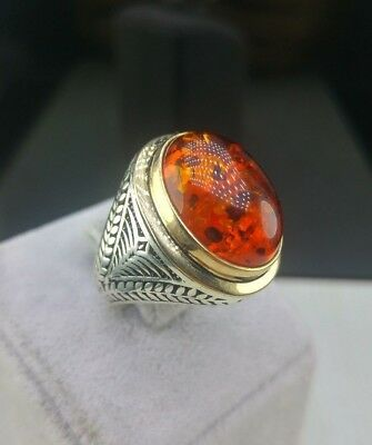 Turkish Handmade 925 Sterling Silver Jewelry Amber  Men's Ring All Size.