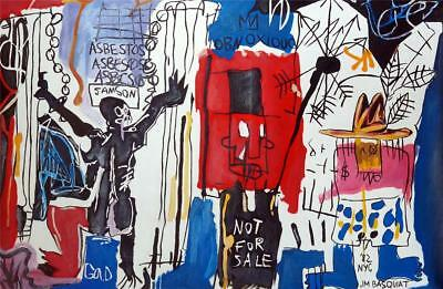 JEAN-MICHEL BASQUIAT, Great Oil on Canvas Art Painting Signed and Dated. Pop Art