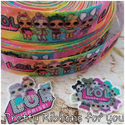 """LOL Mermaids 1/""""  grosgrain ribbon the listing is for 3 yards and 2 flat resin"""