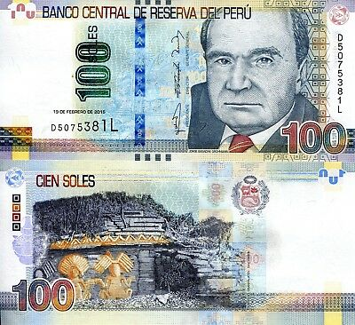 PERU 100 Soles Banknote World Paper Money UNC Currency Pick p-New 2017 Bill Note