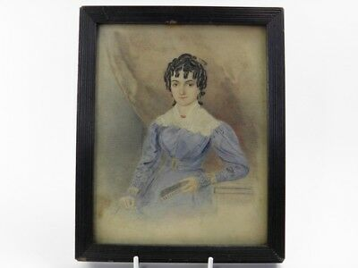 Antique 19th century portrait miniature watercolour painting Miss Elizabeth Eyre