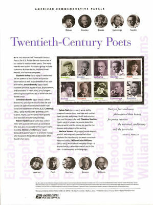 #890 (45c) Forever 20th Century Poets #4654-4663 USPS Commemorative Stamp Panel
