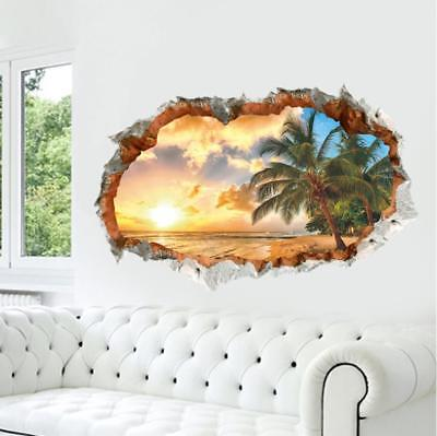 US 3D Wall Stickers Beach Palm Tree Window Room Decal Wallpaper Removable