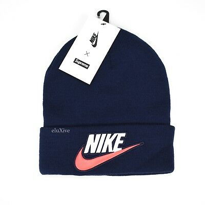 7402555550f4b NWT Supreme NY x Nike Men s Navy Blue Logo Patch Beanie Knit Hat FW18  AUTHENTIC