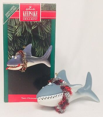 Hallmark Keepsake Tasty Christmas Shark Ornament 1992 A