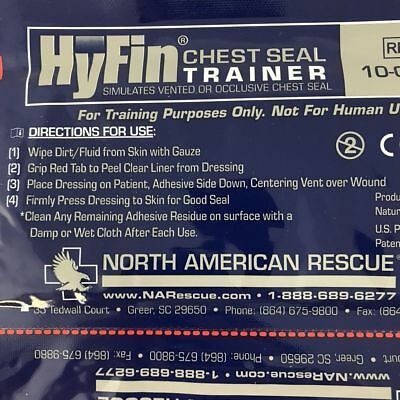 2 Pack North American Rescue Hyfin Vent Chest Seal Trainer, Exp. 2023